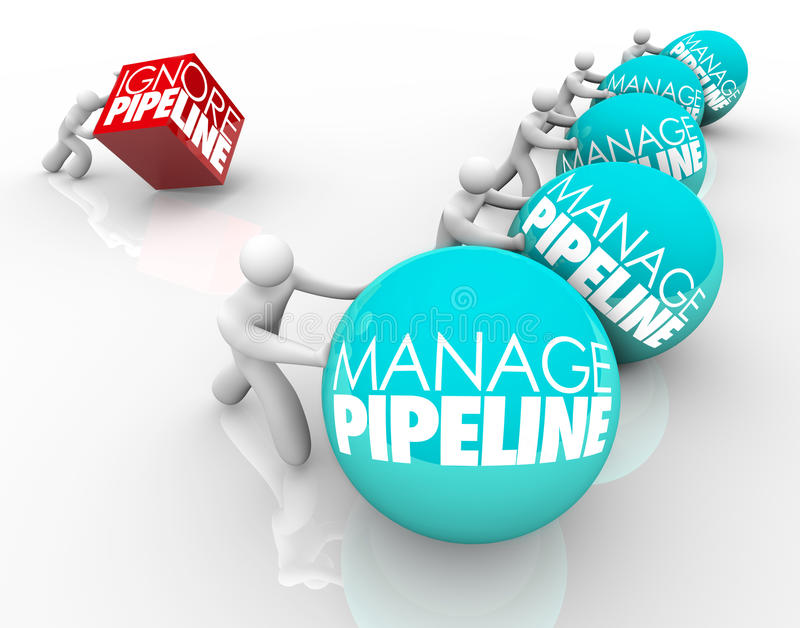Manage Vs Ignore Sales Customer Pipeline Winning Business Strategy. Manage Pipeline words on balls pushed by winning business people and one person struggling by stock illustration