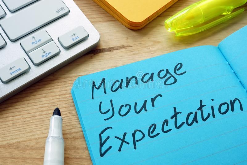 Manage your expectations sign. On the page stock photos