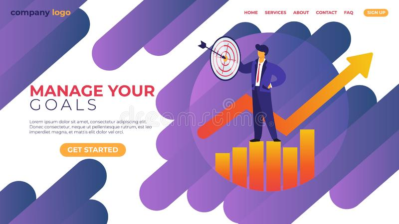Manage Your Goal Horizontal Banner. Businessman. In Formal Suit Stand on Growing Chart with Target and Arrow in Hand. Business Man Character Successful Strategy vector illustration
