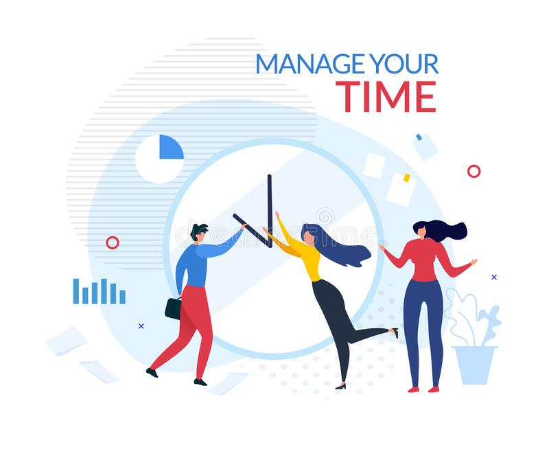 Manage Your Time Motivation People Cartoon Banner. Manage Your Time Motivation Cartoon Banner. Man and Woman Tries Change Arrows Location on Huge Office Clock vector illustration