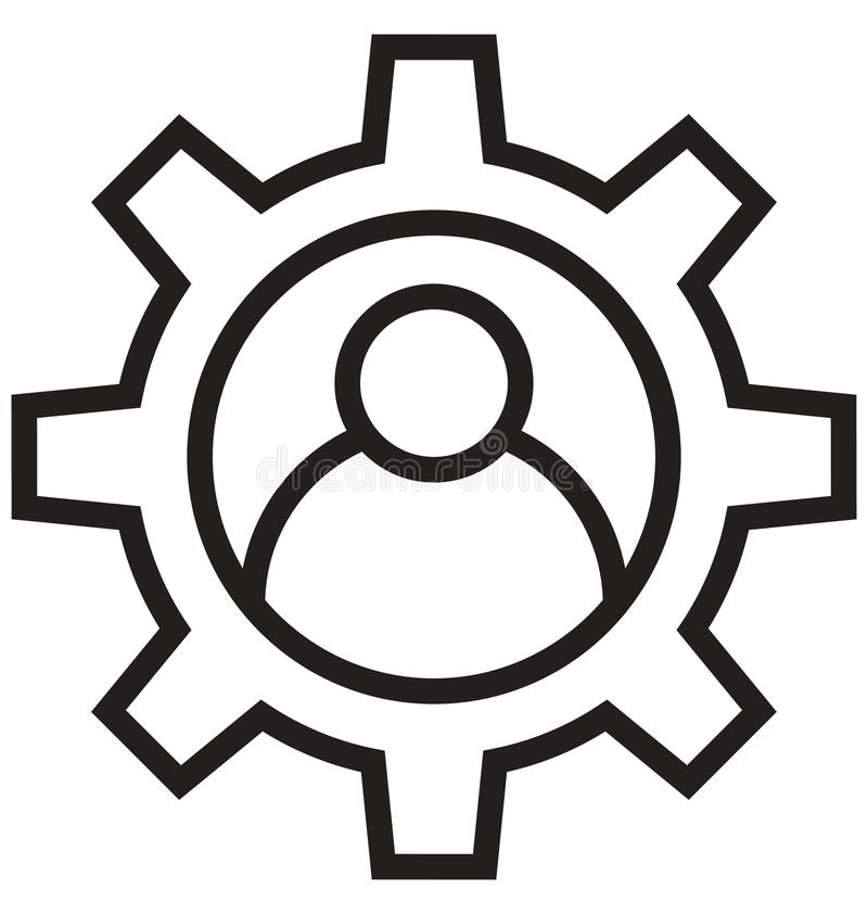 Management, cog line isolated vector icon can be easily modified and edit vector illustration