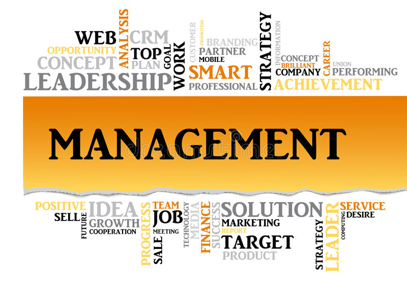 Management concept related words in tag cloud. Vector. Management concept related words in tag cloud isolated with different association business terms. The stock illustration