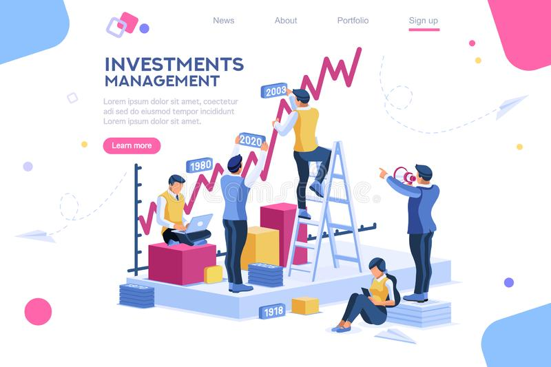Alternative progress, building ad, investment management for company vector illustration