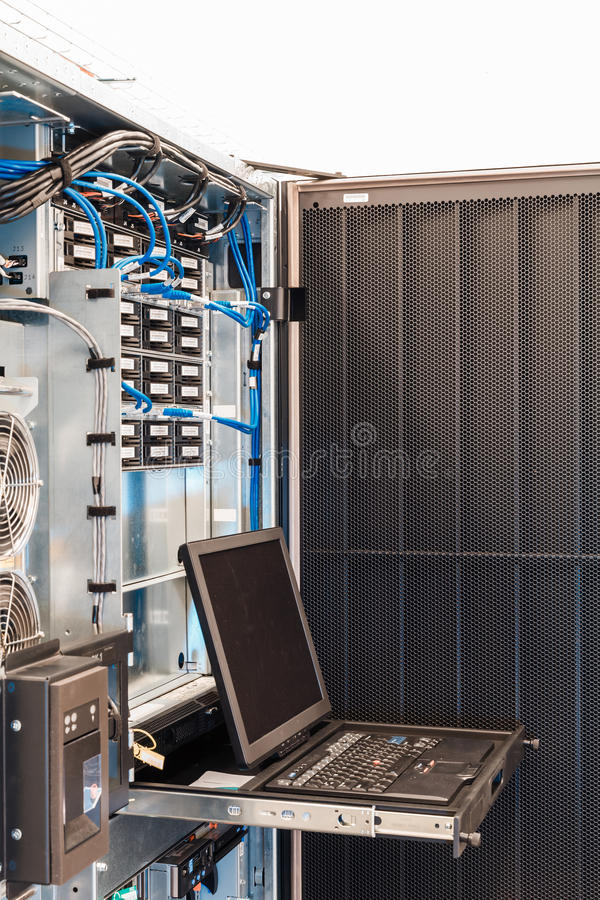Management console in enterprise server. Server management console with a screen in enterprise server royalty free stock images