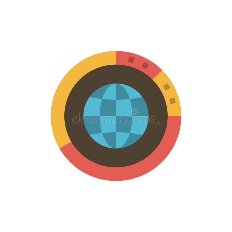 Management, Daten, global, Kugel, Betriebsmittel, Statistiken, Weltflache Farbikone Vektorikonen-Fahne Schablone lizenzfreie abbildung