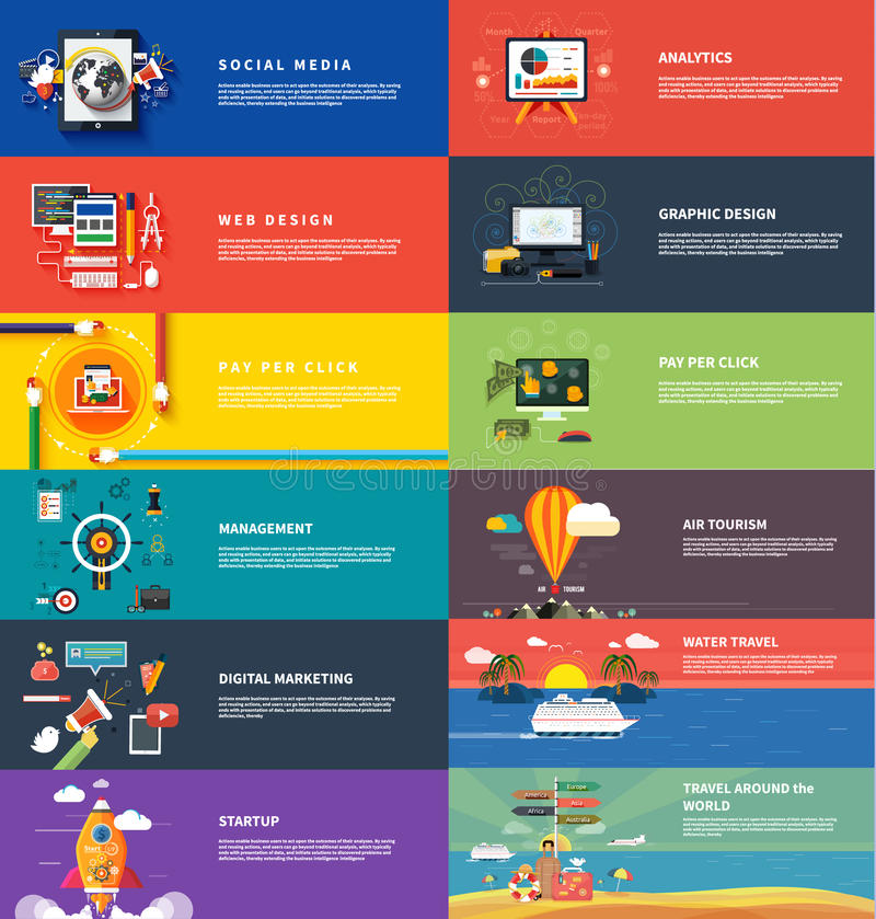 Management digital marketing srartup planning seo stock illustration
