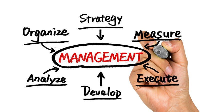 Management flowchart hand drawing on whiteboard. Management flowchart concept hand drawing on whiteboard royalty free stock photography