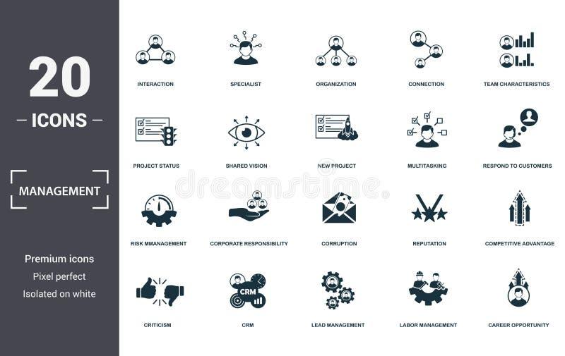 Management-Icons-Auflistung Einschließen einfache Elemente wie Interaktion, Spezialisten, Organisation, Verbindung stock abbildung