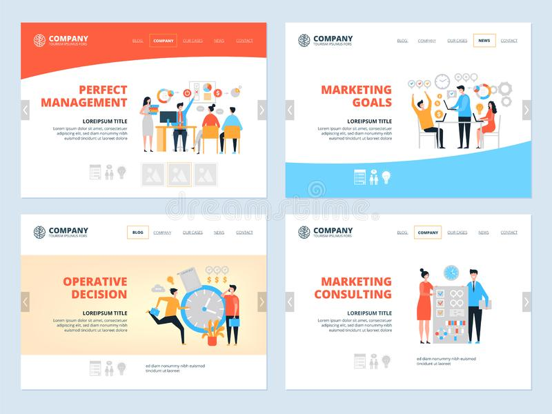 Management landing. Business website page layout organization goal marketing consultants managers team workspace vector royalty free illustration