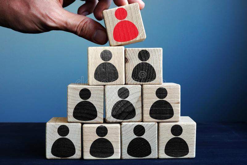 Management and leadership in business. Pyramid from cubes. Management and leadership in the business. Pyramid from cubes stock images