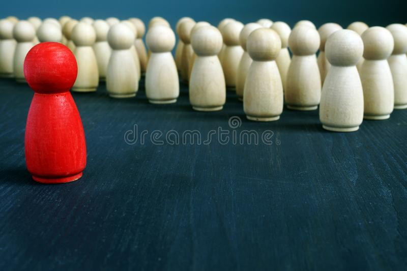 Management and leadership. Leader in front of crowd stock images