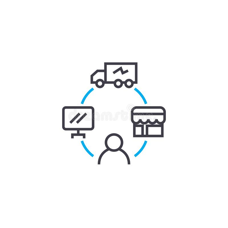 Management of logistics linear icon concept. Management of logistics line vector sign, symbol, illustration. stock illustration