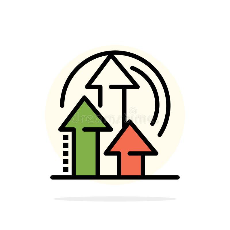 Management, Methode, Leistung, flache Ikone Farbe des Produkt-Zusammenfassungs-Kreis-Hintergrundes vektor abbildung