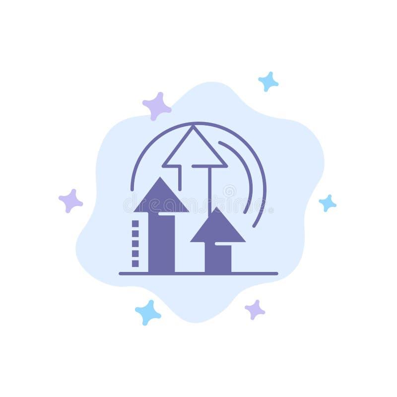 Management, Methode, Leistung, Produkt-blaue Ikone auf abstraktem Wolken-Hintergrund stock abbildung