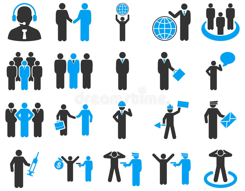 Management and people occupation icon set royalty free illustration