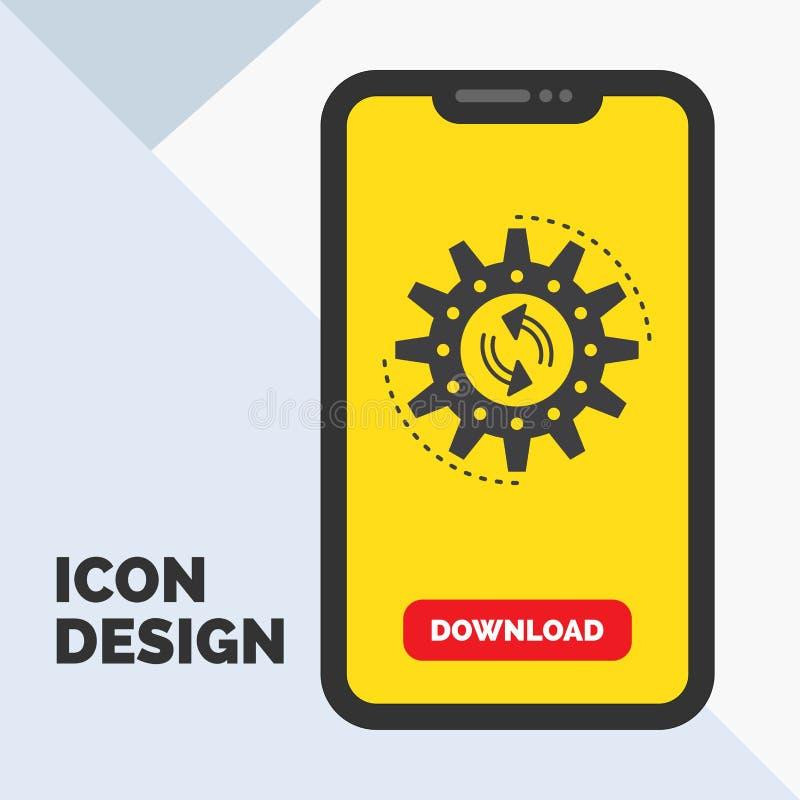 Management, Prozess, Produktion, Aufgabe, Arbeit Glyph-Ikone im Mobile für Download-Seite Gelber Hintergrund vektor abbildung