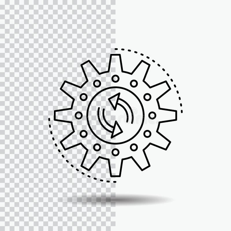Management, Prozess, Produktion, Aufgabe, Arbeit Linie Ikone auf transparentem Hintergrund Schwarze Ikonenvektorillustration vektor abbildung