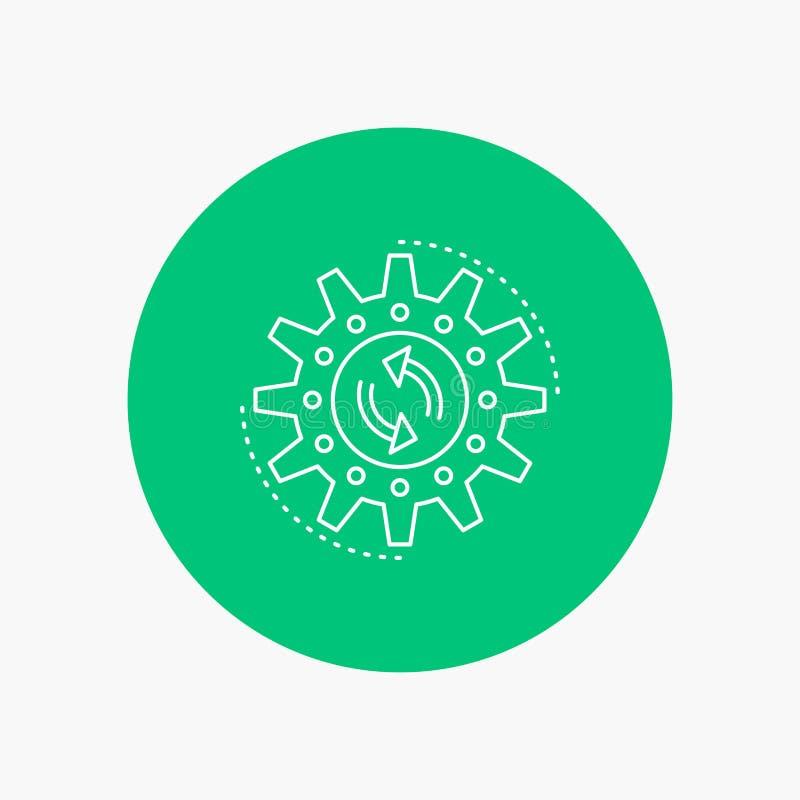 Management, Prozess, Produktion, Aufgabe, Arbeit weiße Linie Ikone im Kreishintergrund Vektorikonenillustration stock abbildung