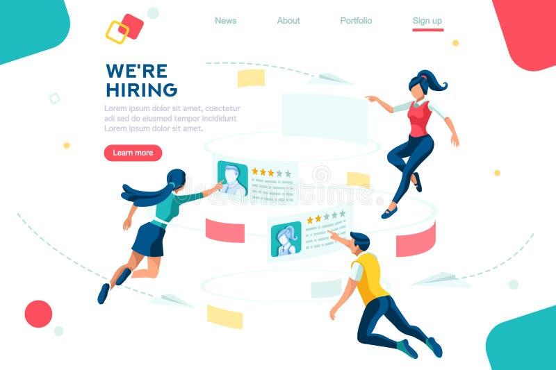 Web Recruiting Management Employment Presentation stock illustration