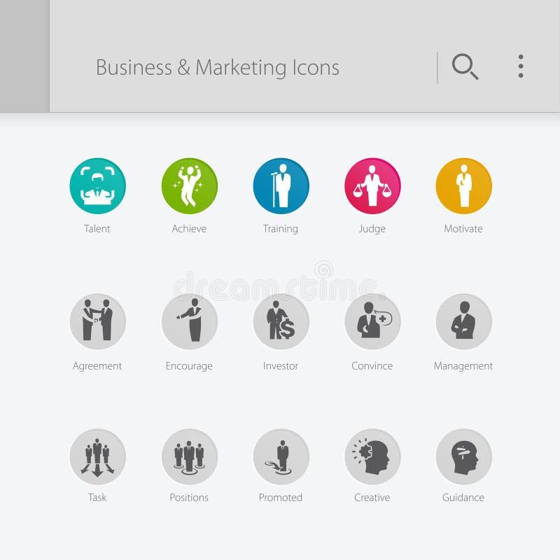 Management- u. Geschäftsikonen stock abbildung