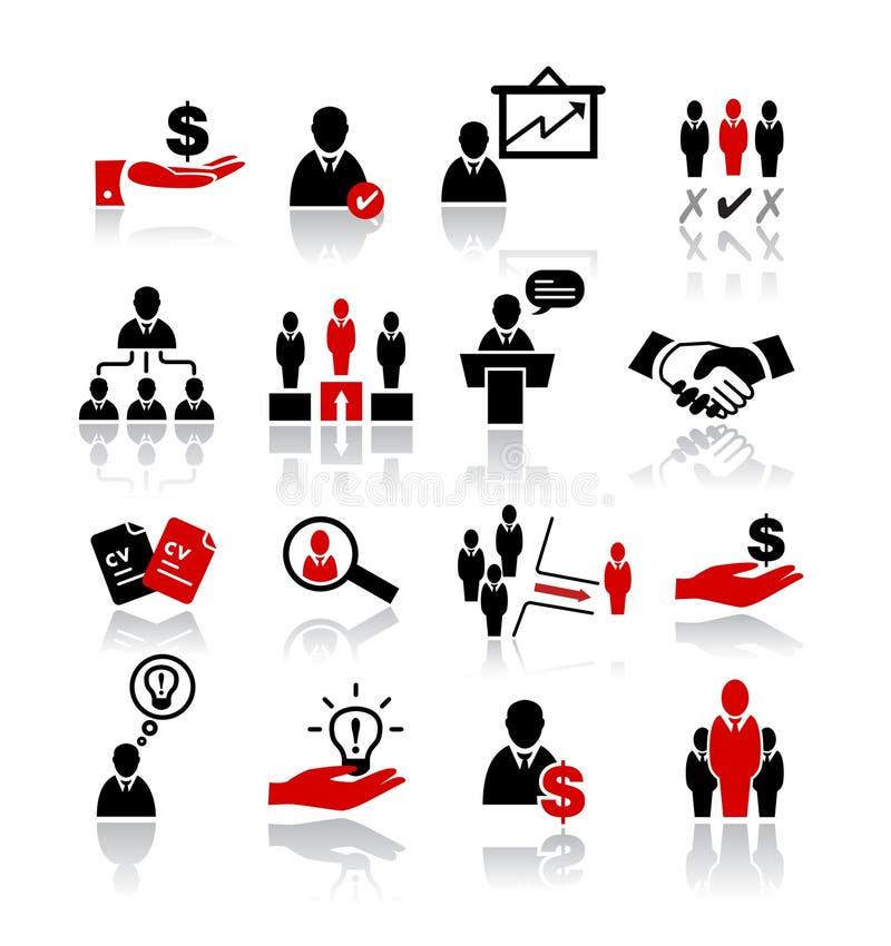 Management-und Arbeitskräftepotenzial-Ikonen lizenzfreie abbildung