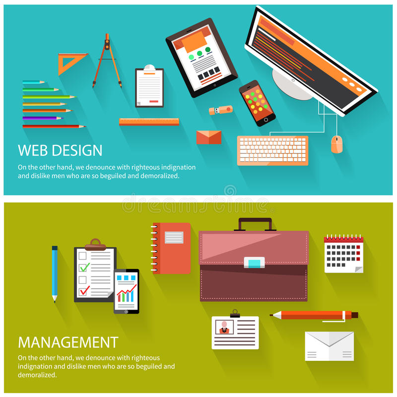 Management and web design concept stock illustration