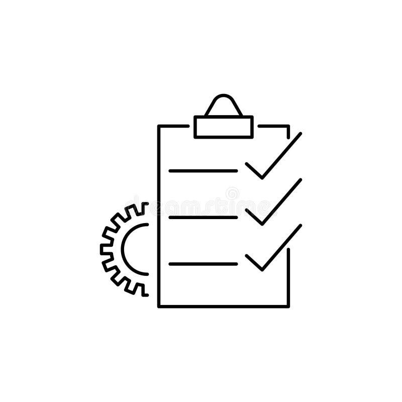 Managementprojekt-Vektorlinie Ikone, Geschäftsdokumenteinstellung vektor abbildung