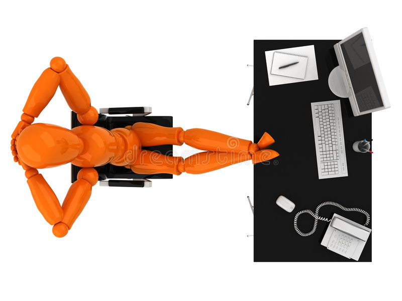 Manager. Orange mannequin to sit at the table royalty free stock photo