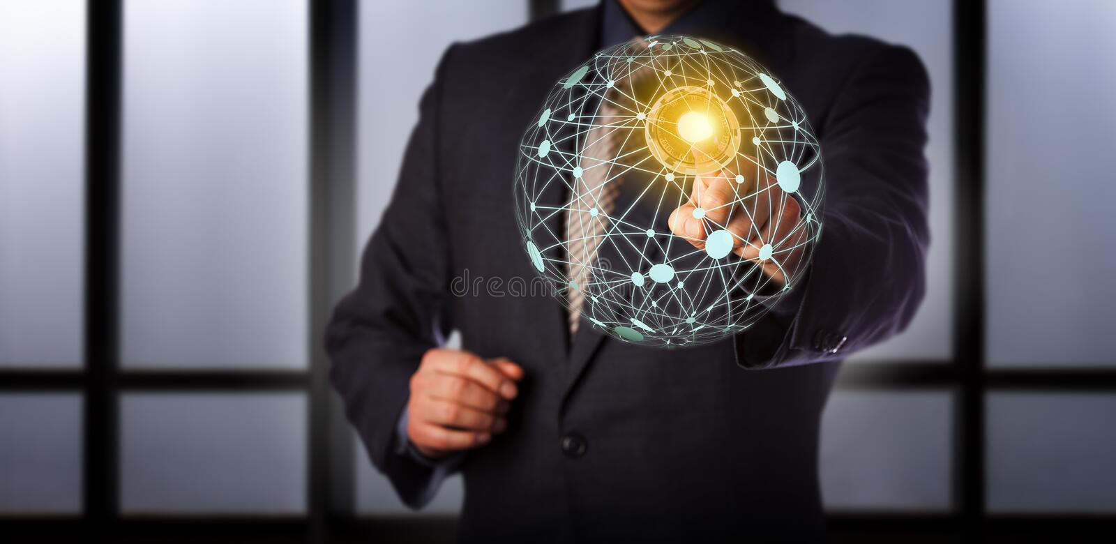 Manager Accessing Virtual Global Mesh Network stock foto's