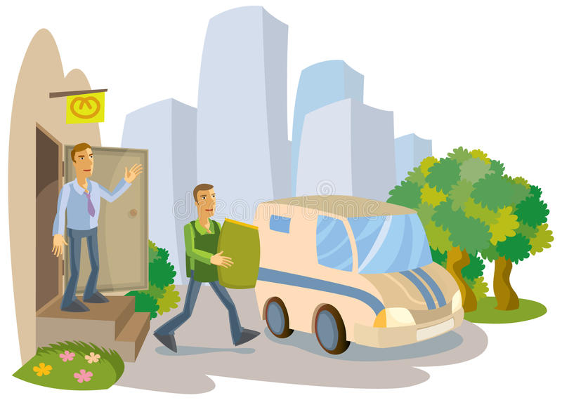 Manager accompanies banker with revenues in the royalty free illustration