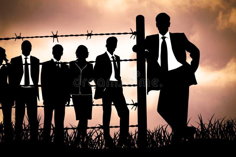 Manager achter Prikkeldraad royalty-vrije illustratie
