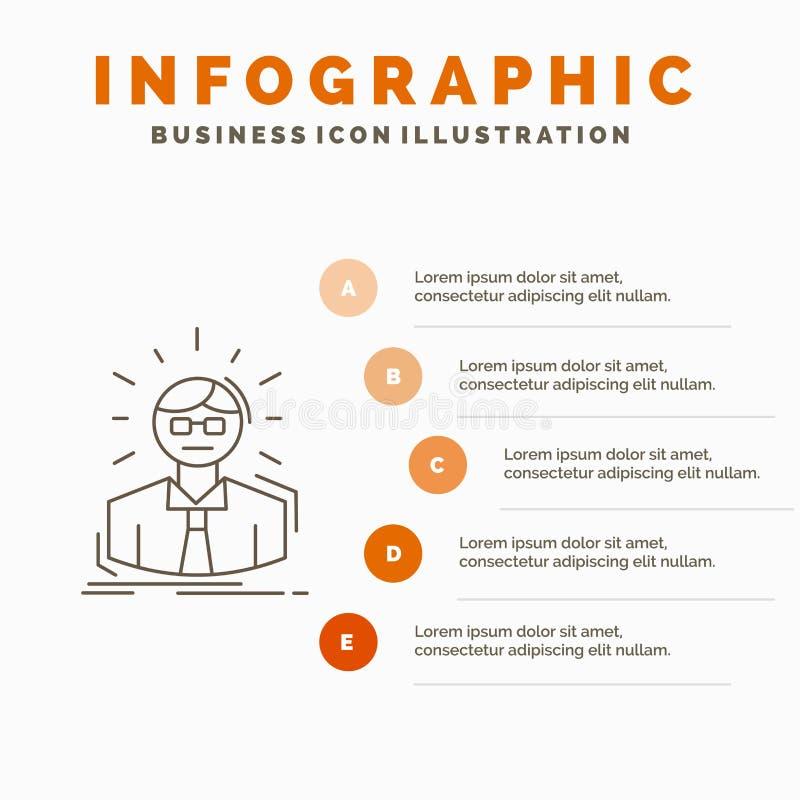 Manager, Angestellter, Doktor, Person, Geschäftsmann Infographics-Schablone für Website und Darstellung Linie graue Ikone mit Ora stock abbildung