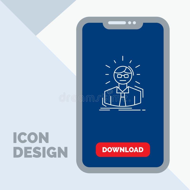 Manager, Angestellter, Doktor, Person, Geschäftsmann-Linie Ikone im Mobile für Download-Seite lizenzfreie abbildung