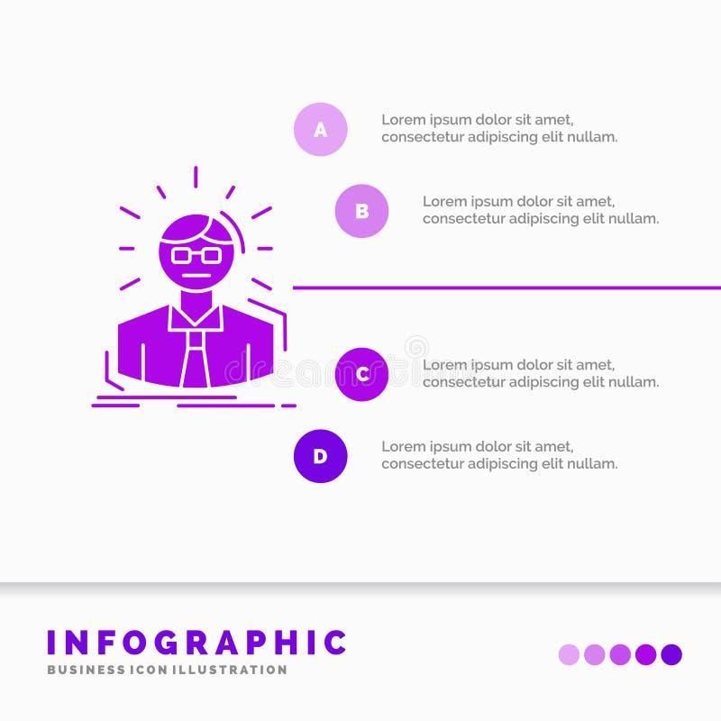 Manager, Angestellter, Doktor, Person, Gesch?ftsmann Infographics-Schablone f?r Website und Darstellung Purpurrote Ikone des GLyp lizenzfreie abbildung