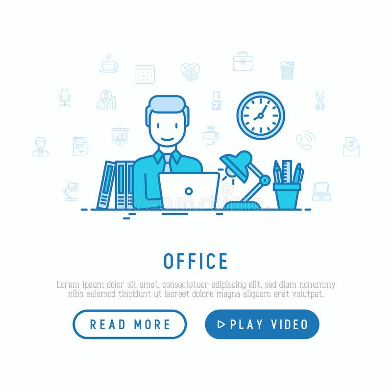 Manager arbeitet an Laptop im Büro über die Zeit hinaus lizenzfreie abbildung