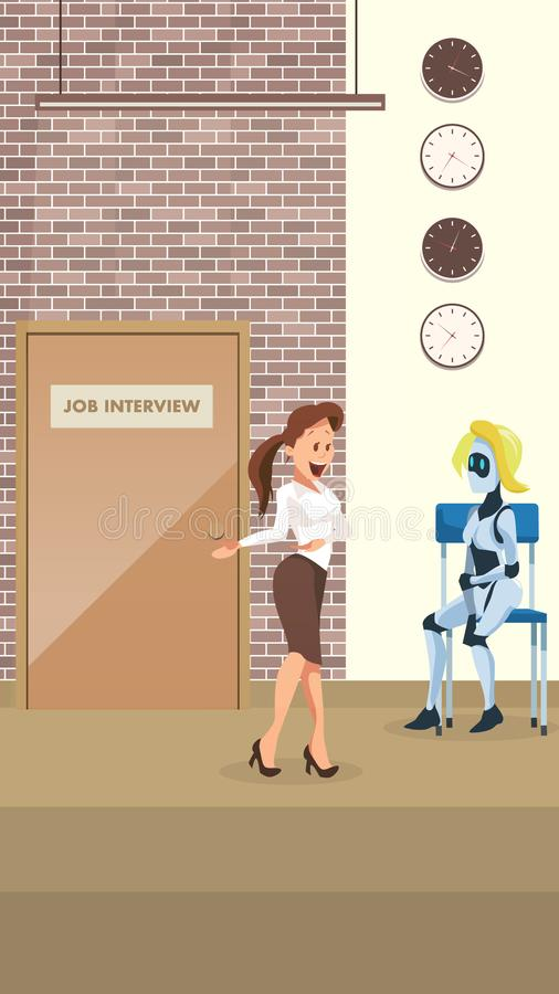 Manager Ask Female Robot to Office Job Interview vector illustration