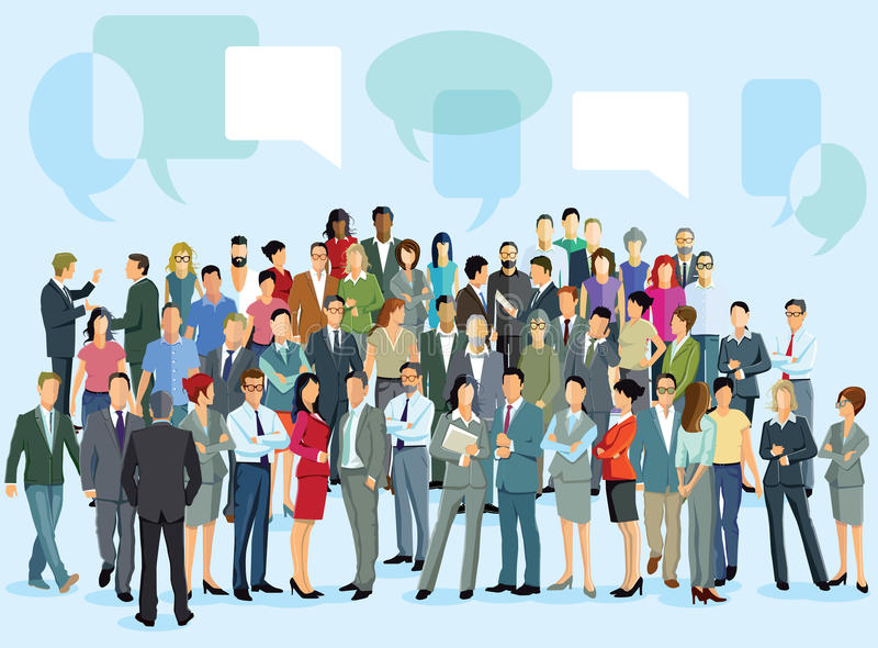 Manager asking employees for ideas. Illustration of a manager wearing a dark suit asking a group of colorfully dressed employees for ideas and feedback, abstract stock illustration