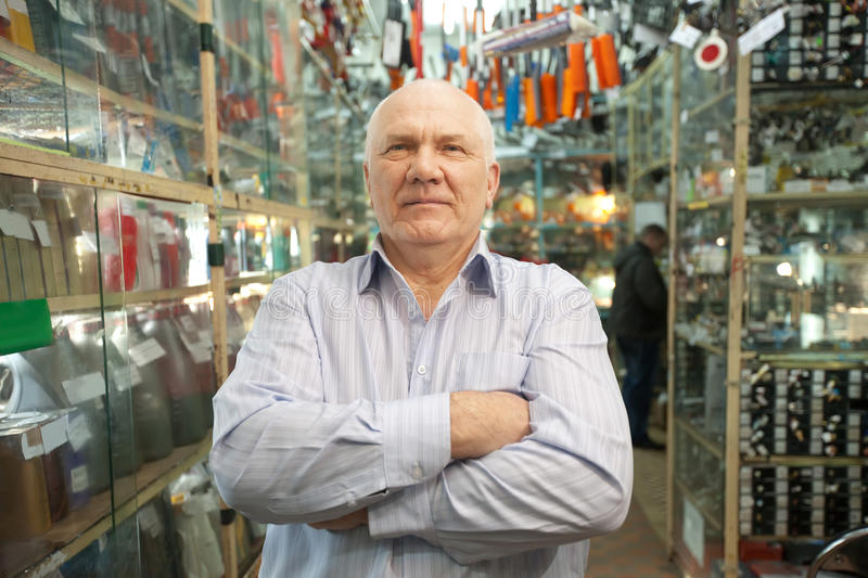 Manager in auto parts store stock photos