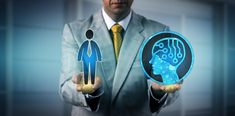 Manager-Balancing One Male-Arbeitskraft und AI-System lizenzfreie stockfotos