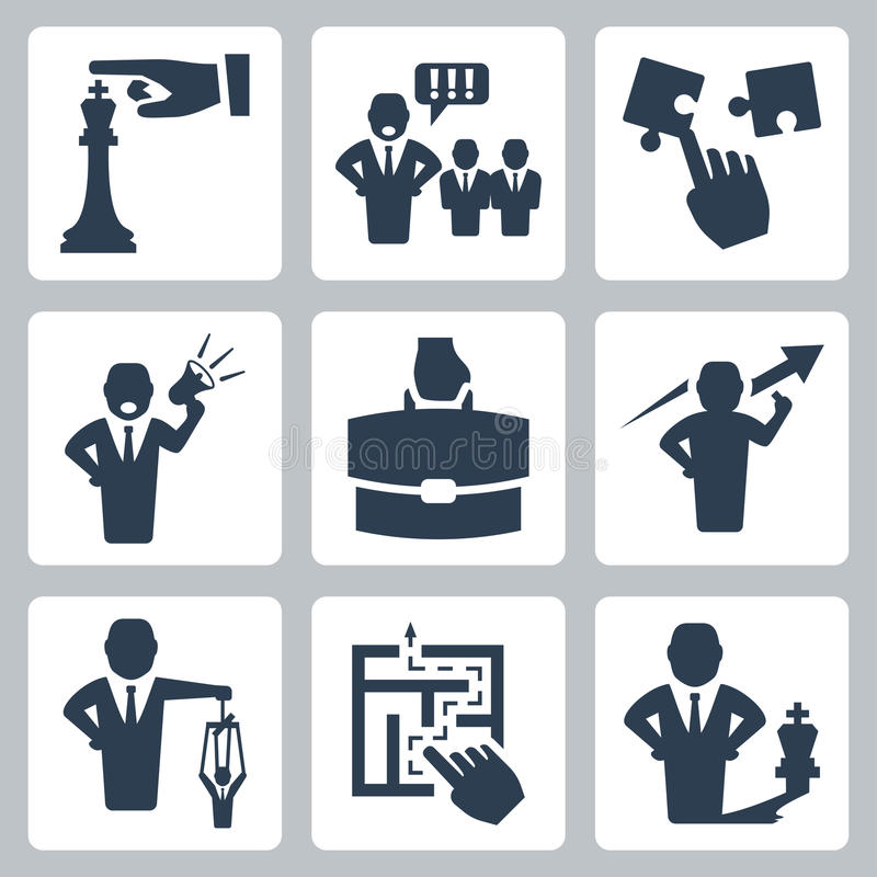 Manager and boss related vector icons. Set stock illustration