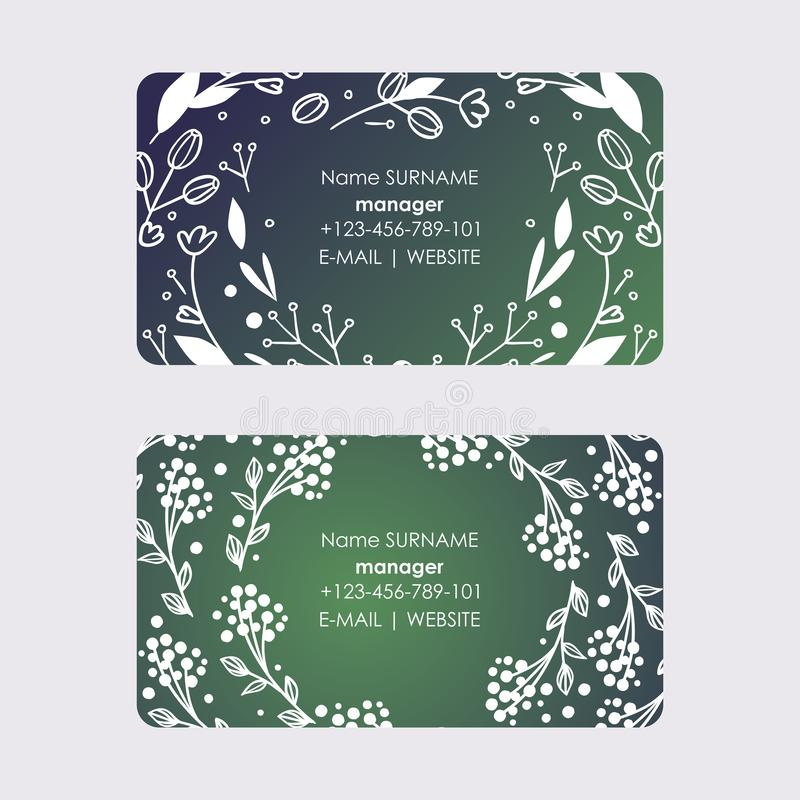 Manager business cards with wreaths leaves and flowers design for vector ilustration. Bloom of plant. Branches with royalty free illustration