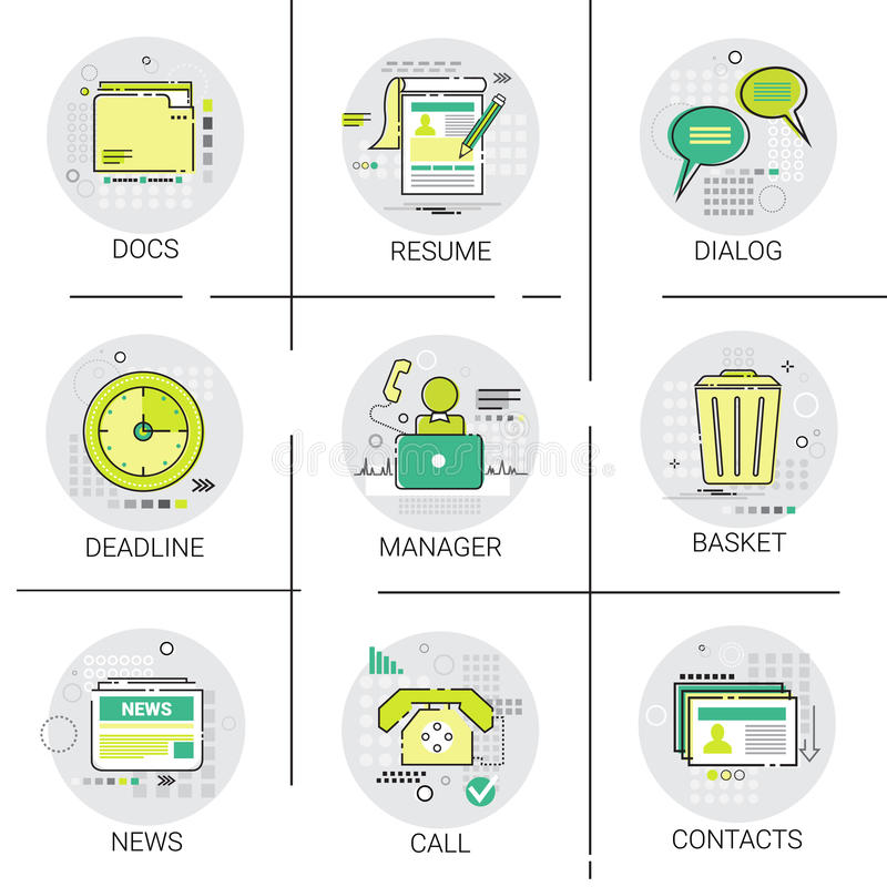 Manager Business Team Resume icon Set, Deadline, Social Network Communication Call Contacts Docs Collection stock illustration