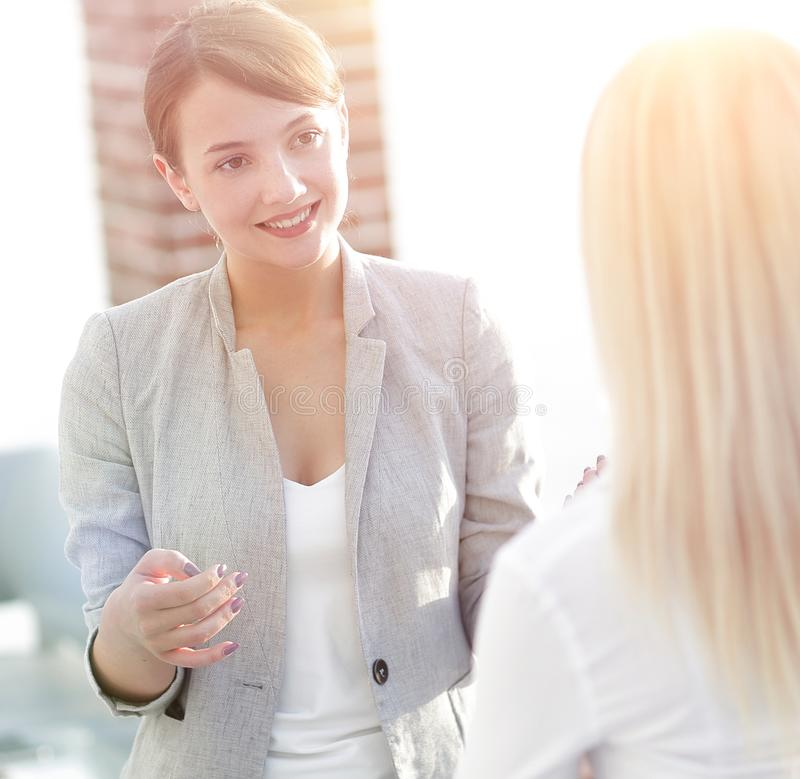 Manager and business team talking in the office. Photo with scopy space royalty free stock photography