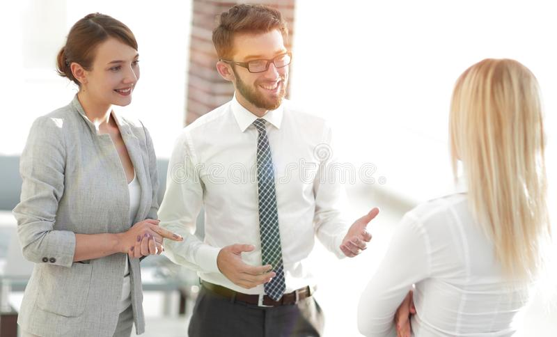 Manager and business team talking in the office. Photo with scopy space stock photos