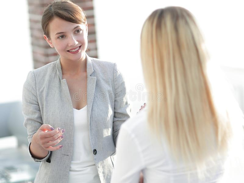 Manager and business team talking in the office. Photo with scopy space royalty free stock photo