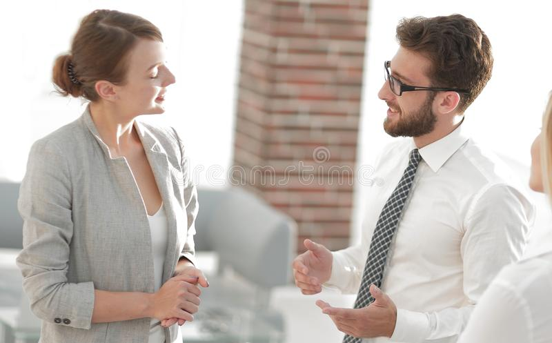 Manager and business team talking in the office. Photo with scopy space royalty free stock photos