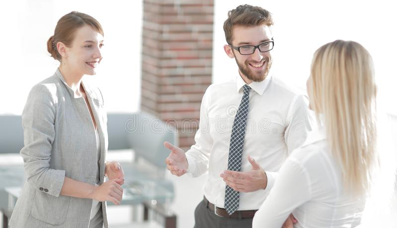 Manager and business team talking in the office. Photo with scopy space stock images
