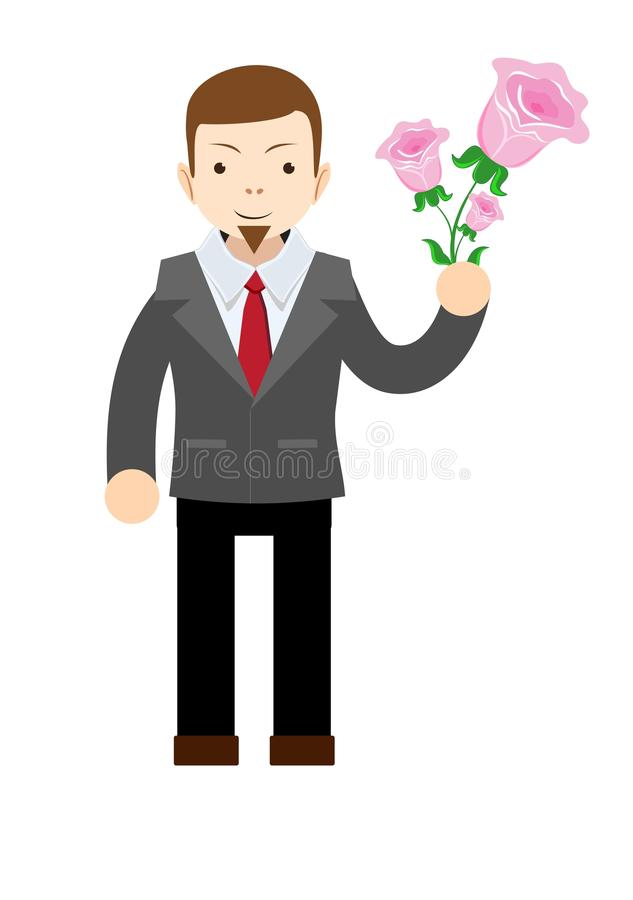 Manager or businessman with flowers. Happy birthday,. Valentine`s Day. Flat isolated vector illustration royalty free illustration