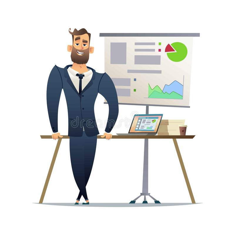 Manager or businessman stand near table. Top Manager ready for presentation. The concept of the financial report stock illustration