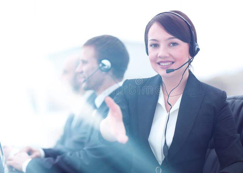Manager of call center reaches out to shake hands. stock photos